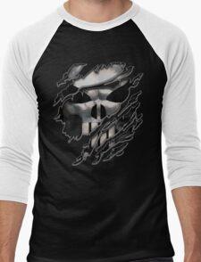 Silver Skull torn tee tshirt Men's Baseball ¾ T-Shirt