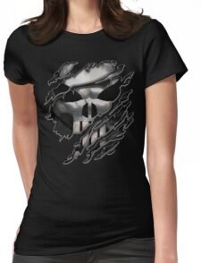 Silver Skull torn tee tshirt Womens Fitted T-Shirt
