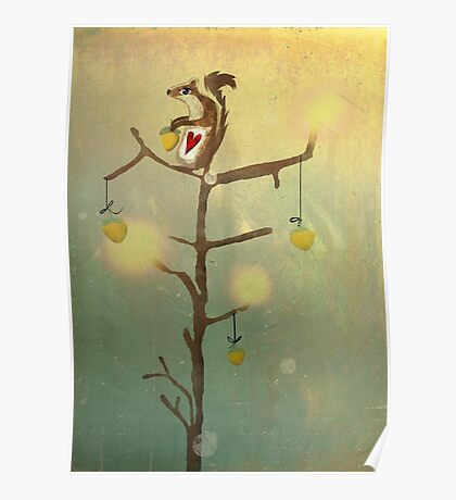 Gold squirrel glide tree alone sunset Poster
