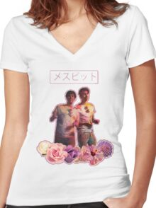 Phan-Aesthetic-Flower Design Women's Fitted V-Neck T-Shirt