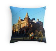 Perseverance Hotel and Cyclist (Fitzroy, Melbourne) Throw Pillow