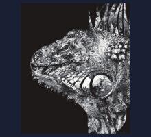 Black And White Iguana Art - One Cool Dude 2 - Sharon Cummings Kids Tee