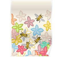 Indian Summer flowers and bees Poster