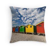 Bathing Box colors Muizenberg Throw Pillow