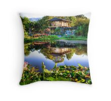 Blue Lotus Watergarden Throw Pillow