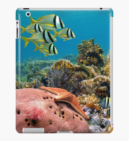 Tropical underwater landscape in a coral reef iPad Case/Skin