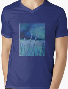 Lavender Digital and Arcylic Impressionistic Abstract Mens V-Neck T-Shirt