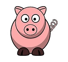 Cartoon Pig Photographic Print