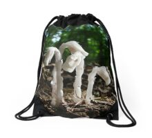 Indian Pipes In The Forest Drawstring Bag