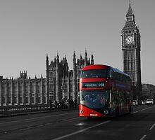 Bus and Big Ben, London UK by Allen Lucas