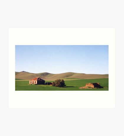 Old Farmhouse and Rolling Hills Art Print