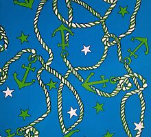 """""""Patriotic Anchors and Ropes Aweigh - BLUE""""© by HelgaFCrosby"""