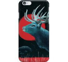 Blue Elk and Red Moon iPhone Case/Skin