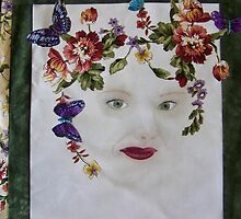 Portrait quilt in memory by Cheryl J Newman