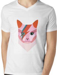 Bowie Cat Mens V-Neck T-Shirt
