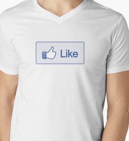 Like Button V-Neck Mens V-Neck T-Shirt