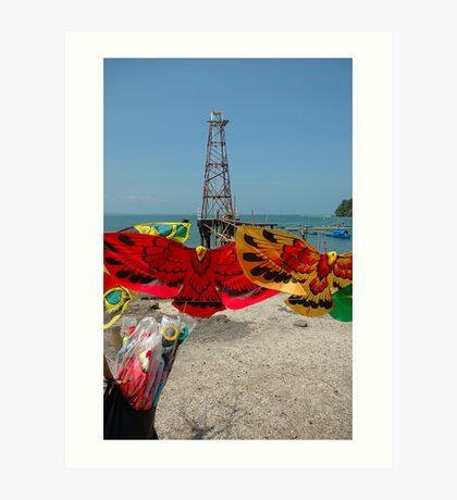 lighthouse on beach Art Print