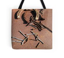 Old Rusty Horseshoes with nails Tote Bag