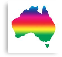 Map of Australia coloured with rainbow Canvas Print