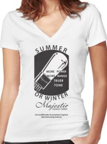 vintage radio tubes ad Women's Fitted V-Neck T-Shirt