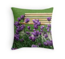 Sitting By The Bench Throw Pillow