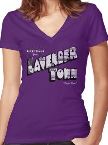 Greetings from Lavender Town Women's Fitted V-Neck T-Shirt