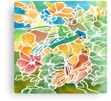 Parakeets Stain Glass Canvas Print