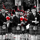 Pipers - Selective color - Tamworth Anzac day Parade by Craig Stronner