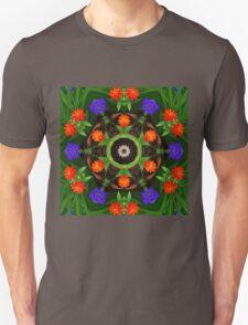 Warm orange and cool blue botanical mandala Unisex T-Shirt