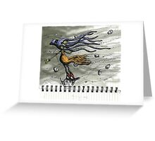 Octopus Girl in the Field of Windblown Skulls Greeting Card