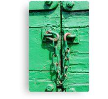 Green trailer & rusty chain Canvas Print