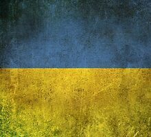 Old and Worn Distressed Vintage Flag of Ukraine by Jeff Bartels