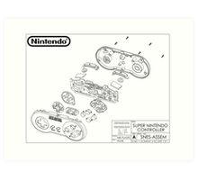 Exploded SNES Controller Schematic Art Print