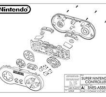 Exploded SNES Controller Schematic by tigglebitties
