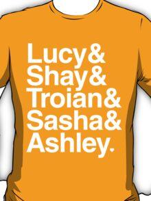 Lucy & Shay & Troian & Sasha & Ashley - white text T-Shirt