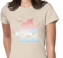 Red Sky Blue Wave Lines Womens Fitted T-Shirt