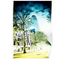 Barcelona night scene Poster