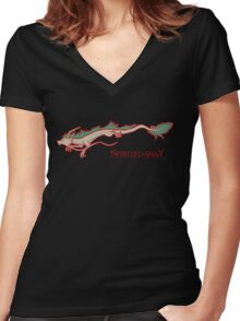 Spirited Away - Haku Dragon Women's Fitted V-Neck T-Shirt