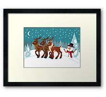 Reindeer in the Snow Framed Print