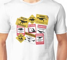 Dinosaur Caution Signs Unisex T-Shirt