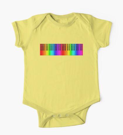 Rainbow Piano Keyboard  One Piece - Short Sleeve