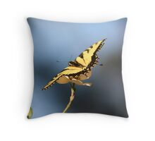 Yellow Butterfly on a Dogwood Tree Throw Pillow