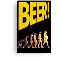 Beer and Evolution of man  Canvas Print