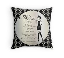 Gatsby Girl Recipe To Be A 1920s Flapper Girl (in black silver & pearl) Throw Pillow