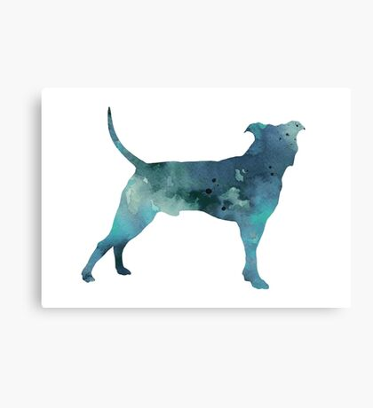 Blue pit bull watercolor art print painting Canvas Print