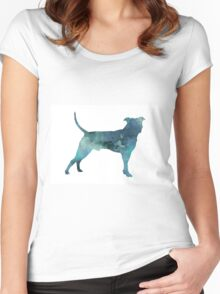Blue pit bull watercolor art print painting Women's Fitted Scoop T-Shirt