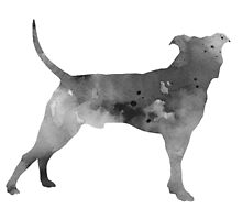 Pit bull silhouette watercolor art print painting by Joanna Szmerdt