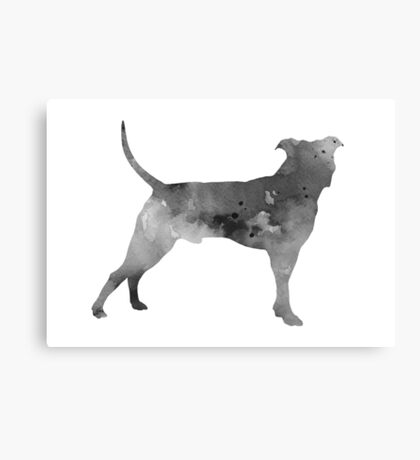 Pit bull silhouette watercolor art print painting Canvas Print