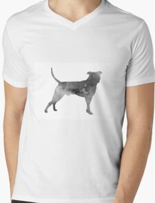 Pit bull silhouette watercolor art print painting Mens V-Neck T-Shirt