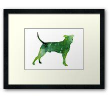 Abstract green pitbull watercolor painting Framed Print